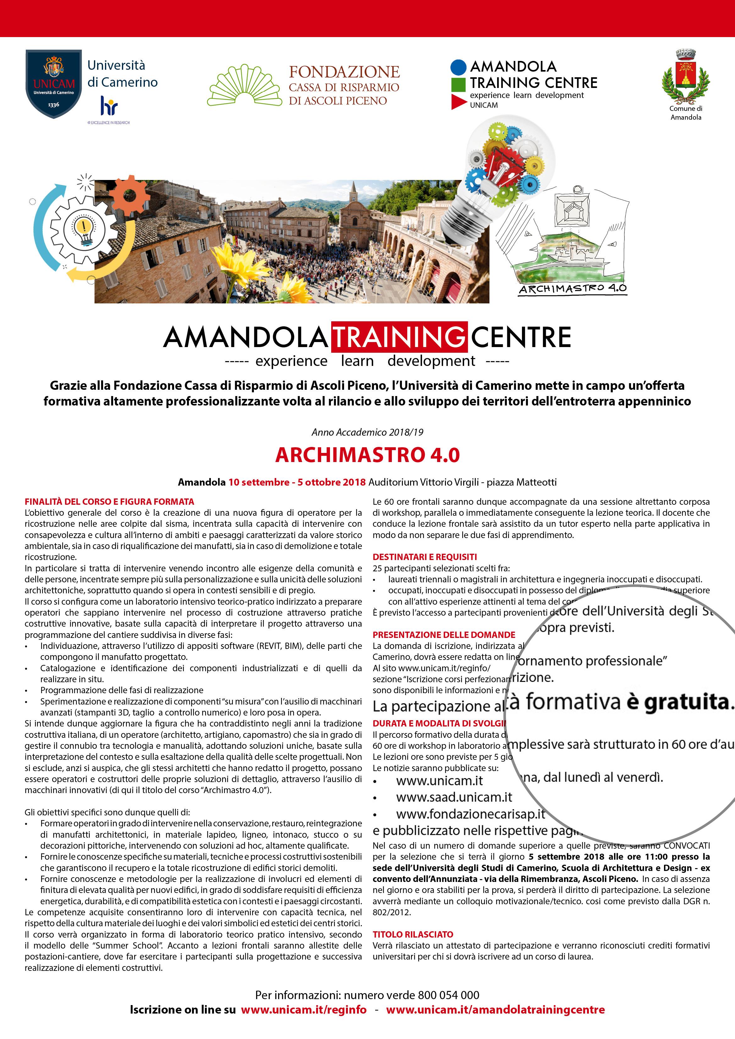 Unicam Calendario Didattico.Archimastro 4 0 Amandola Training Centre Scuola Di