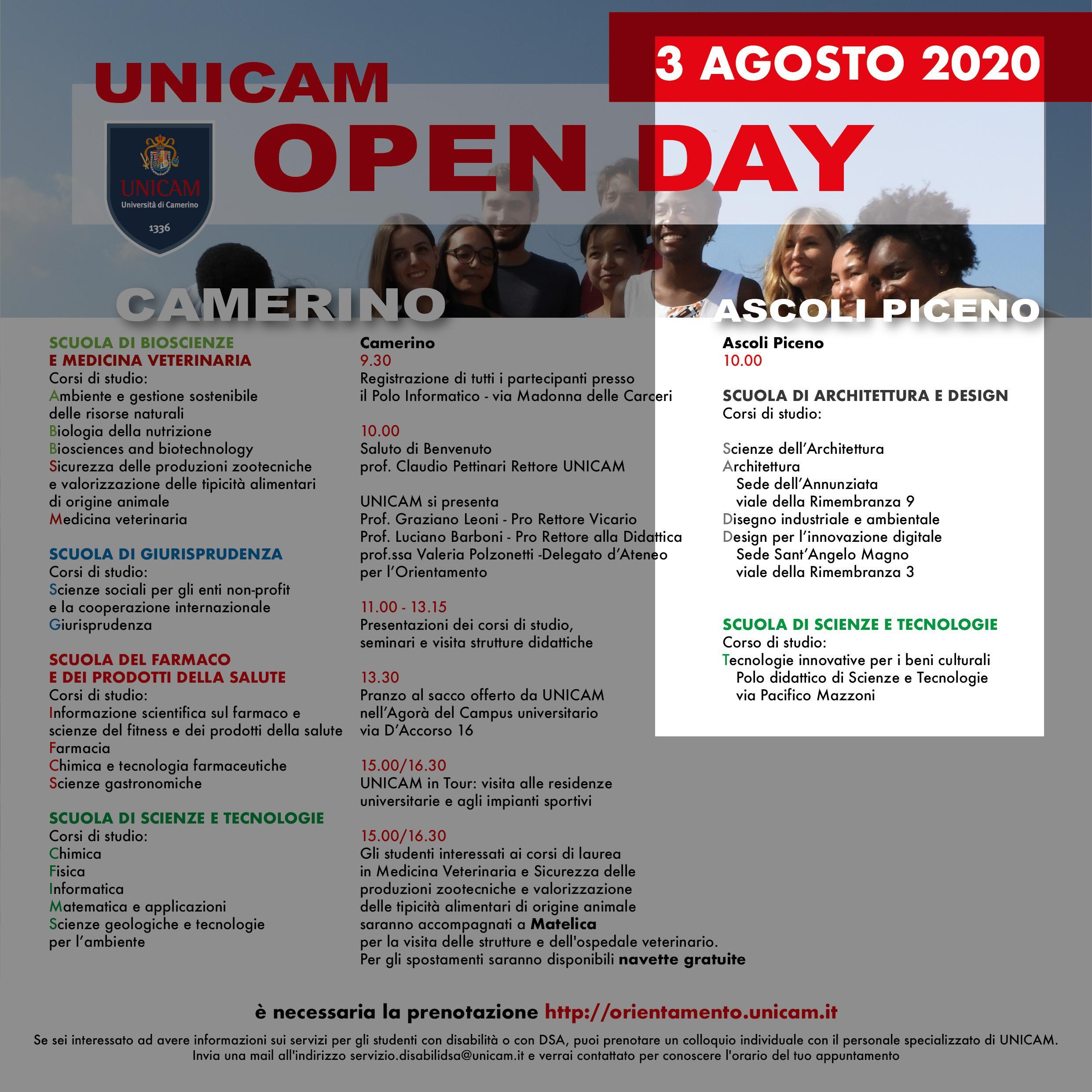 open day 3 agosto 2020