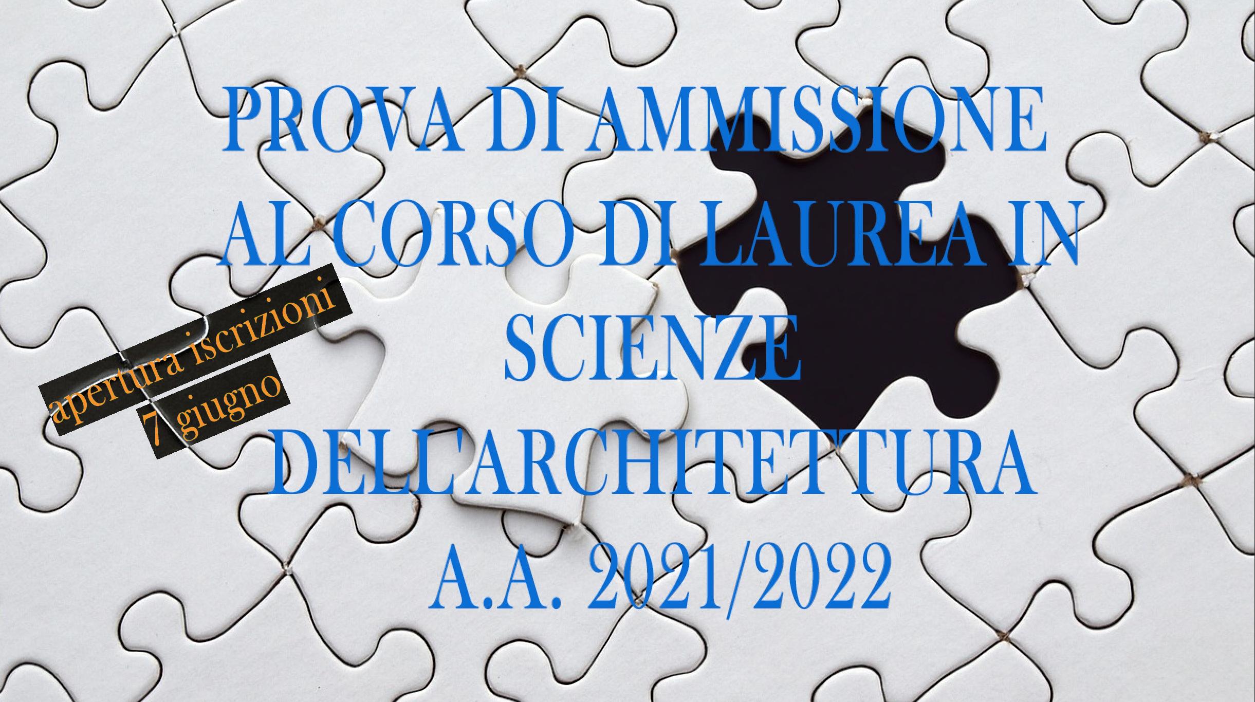 apertura iscrizioni scienze dell'architettura 2021/2022