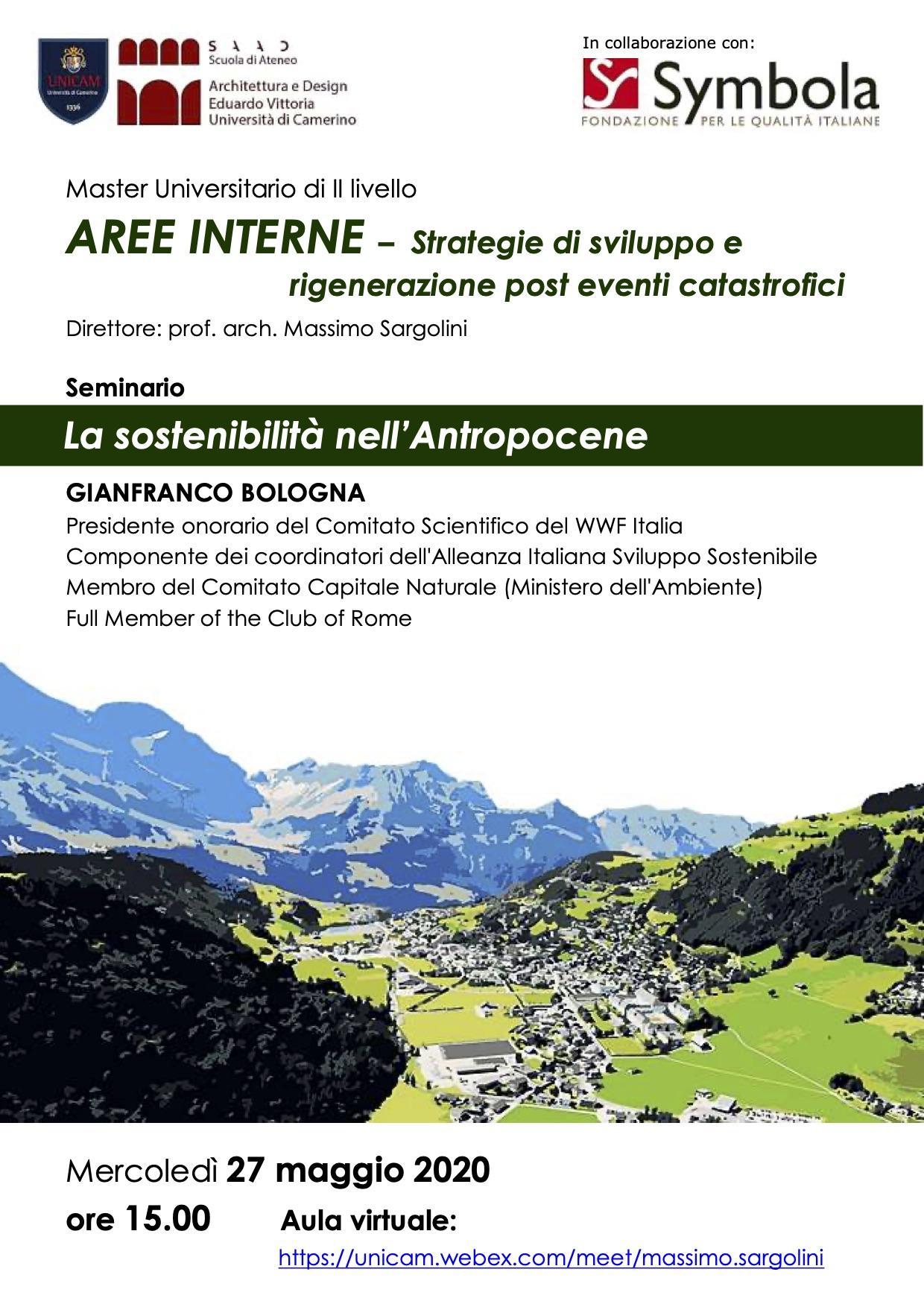 seminario locandina gianfranco bologna, antropocene, massimo sargolini,