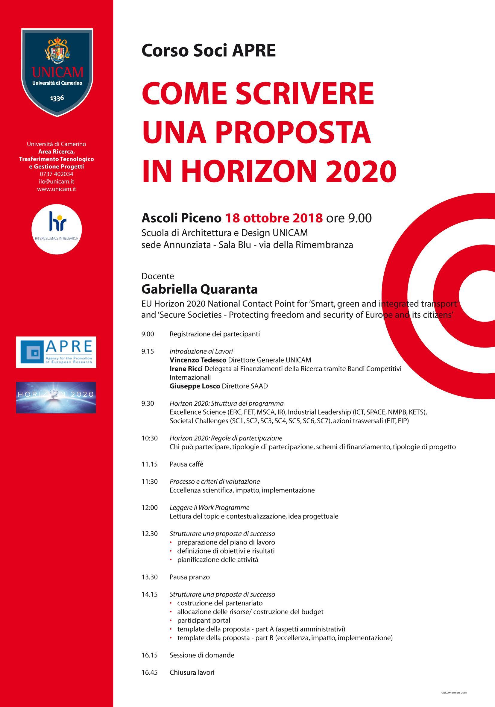 come scrivere una proposta in horizon 2020
