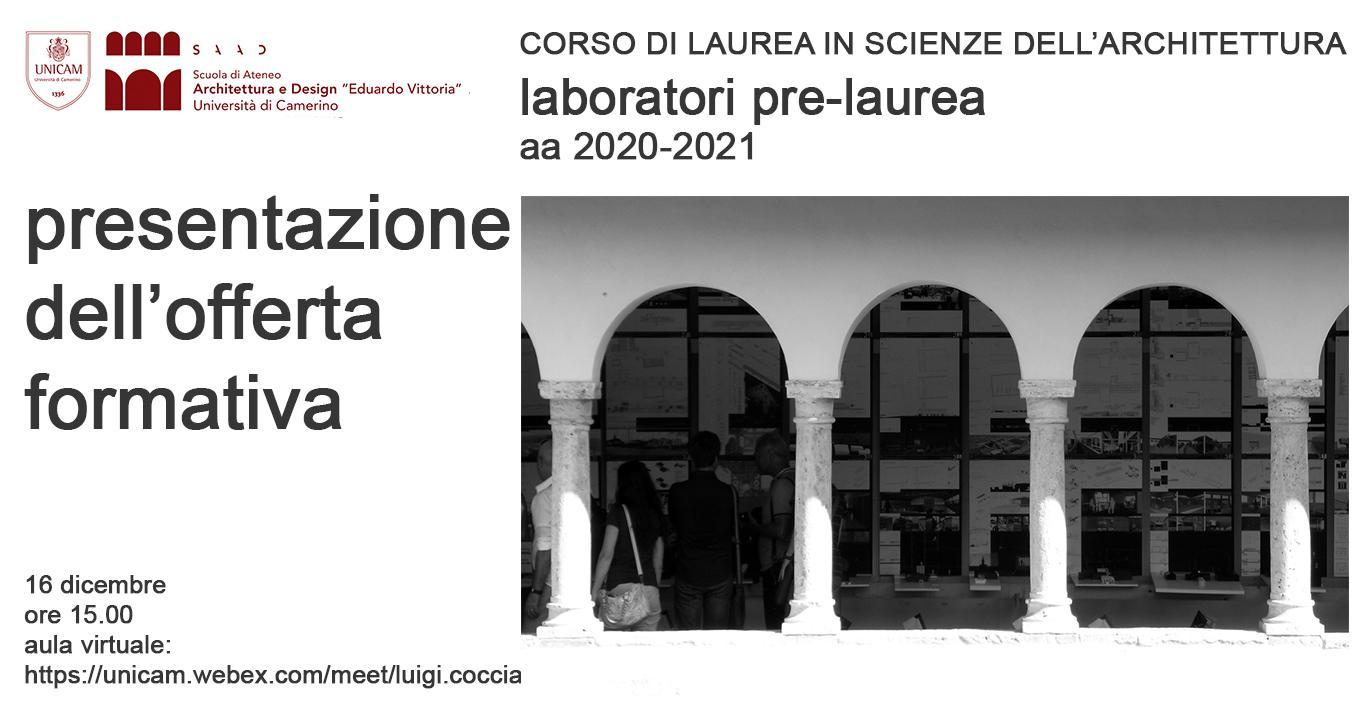 CORSO DI LAUREA IN SCIENZE DELL'ARCHITETTURA laboratori pre-laurea